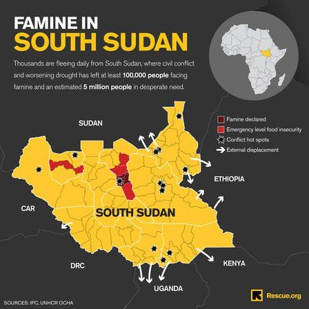 Famine regions in South Sudan
