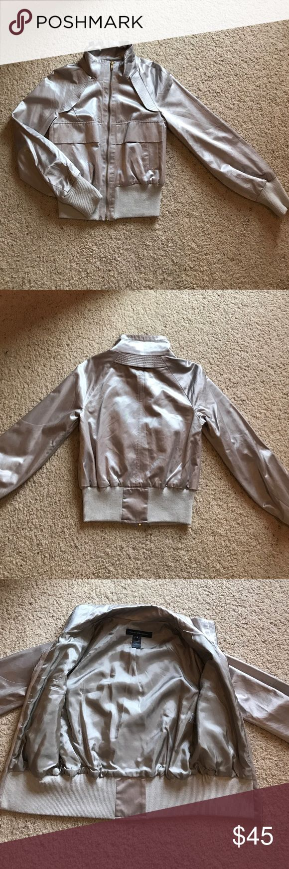 French Connection Silver Bomber Jacket French Connection Silver Bomber Jacket size 6 with gold zipper. Maybe worn 2 times. Super cute! French Connection Jackets & Coats
