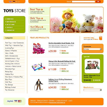 Toys Store osCommerce Templates by Modlin