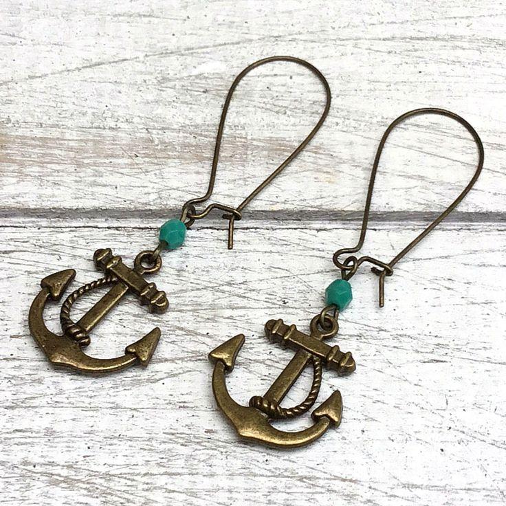 Vintage Nautical Anchor Earrings, Seaside earrings, Turquoise earrings, Surf Style Earring, Nautical Wedding, Coastal Wedding, Beach Wedding by nimmysjewellery on Etsy
