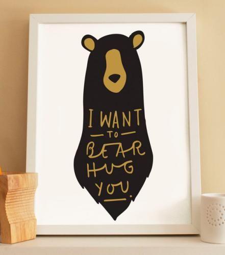 HAFEN | Rakuten Global Market: OLD ENGLISH CO. | BEAR HUG PRINT (BLACK AND GOLD/WHITE BACKGROUND) | A3 art print / poster