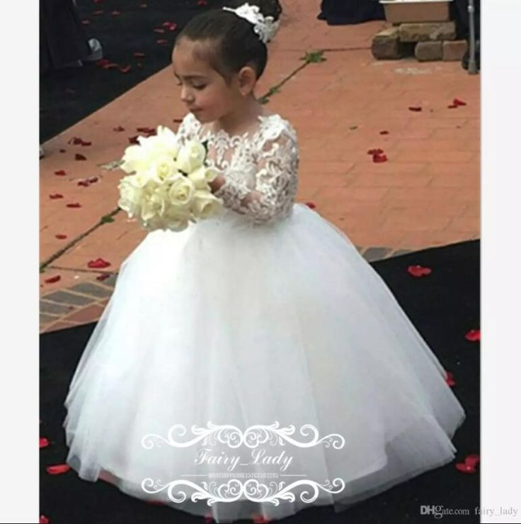 2018 Cheap Long Sleeves Pageant Flowers Girls Dresses Formal Illusion Sheer Lace Ball Gown White Tulle Festival Dress Party Formal Gowns