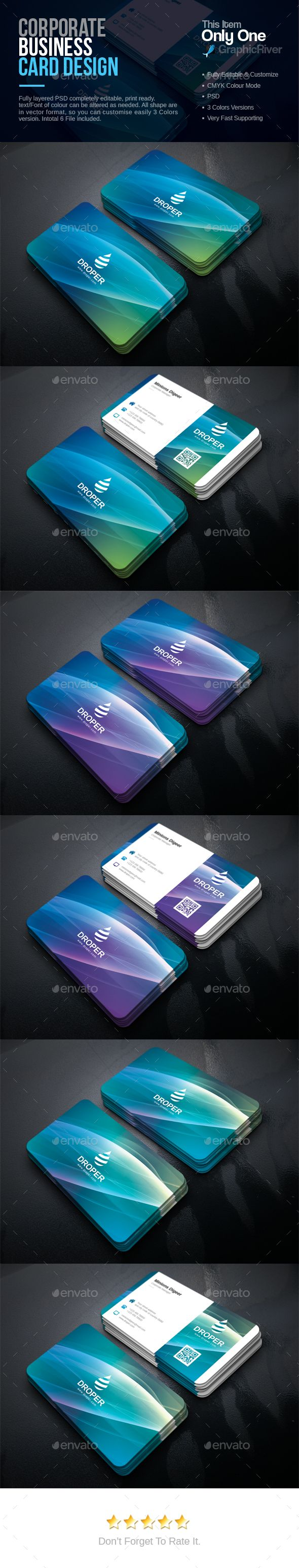 #Corporate #Business Card - Corporate Business #Cards Download here: https://graphicriver.net/item/corporate-business-card/17338101?ref=alena994