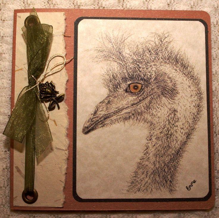 Pencil drawing of emu. Rustic Birthday Greeting Card. Handmade paper, green ribbon, rose metal charm, Scripture Romans 8:38,39. OOAK.