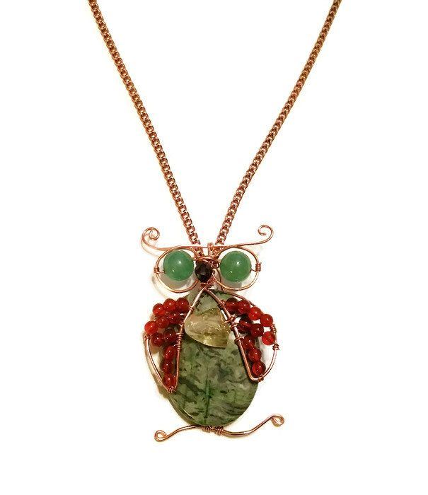 Gemstone and Copper Owl Pendant. Wire Wrapped Laguna Lace Agate Necklace. Carnelian Necklace. Citrine Pendant, FREE US 1st Class Shipping. by BeABellaOriginal on Etsy https://www.etsy.com/listing/488104446/gemstone-and-copper-owl-pendant-wire