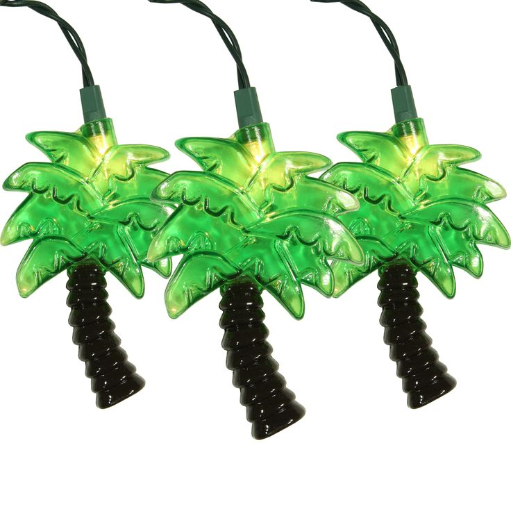 for $20.99. Palm Tree Novelty Light Set, 10 Clear Lights are fun specialty lights for decorative flair. Incandescent lights with Steady light display for Indoor / Outdoor use. Price: $20.99