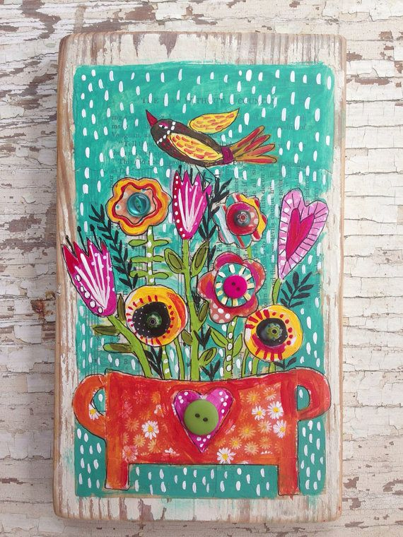 BoHo Birds Folk Art Gypsy Style  by evesjulia12 on Etsy, $68.00