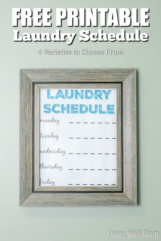 Had enough with the never-ending mountain of laundry? Grab your FREE PRINTABLE Laundry Schedule now and tame the laundry beast today! (Four varieties to choose from!)