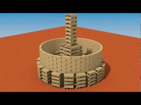 ▶ Colloseum like Building of 2100 KEVA planks destruction simulation - YouTube