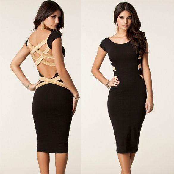 midi black dress yourlook.gr
