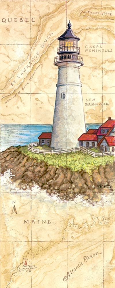 Portland Head Light,a painting of a lighthouse painted against a hand painted map, showing the region and the spot where the lighthouse is l...