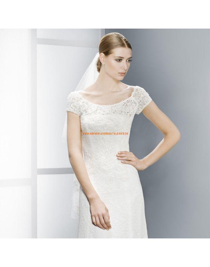 Elegante Rund-Ausschnitt kurz Ärmel Hochzeitskleider aus Spitze Vestidos de novia - Jesús Peiró