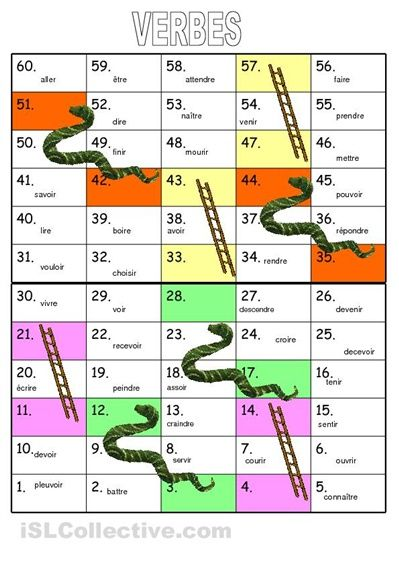 French game: snakes & ladders verb game