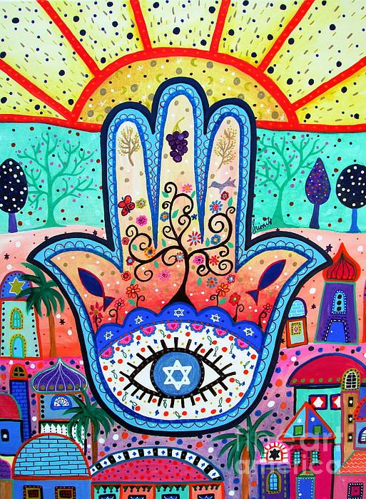 hamsa, hamesh, evil eye, protect, protection, protector, see, watch over, judaica, jewish, star,david, tree, tree of life, jerusalem, prisarts, pristine cartera turkus, sun, bar, bat, b'nai, bnai, mitzvah, confirmation, religious, fish, pomegranate, star of david, israel