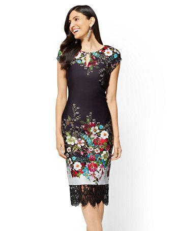 966a1a708f0 Shop Lace-Trim Sheath Dress - Floral. Find your perfect size online at the best  price at New York   Company.