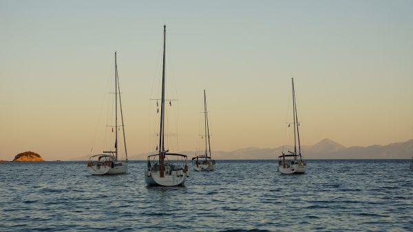 Sailing at Sunset, Koukounaries, Skiathos island