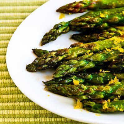 Recipe for Pan-Fried Asparagus Tips with Lemon Juice and Lemon Zest; I've made this recipe so many times as a side dish when I was having dinner guess and it's always a hit!  [from KalynsKitchen.com]