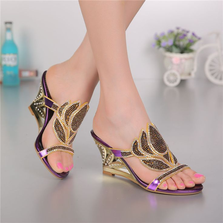 Purple Korean Sexy Diamond Fashion Casual Open Toe Slippers With Heel  Womens Shoes Large Sizes High