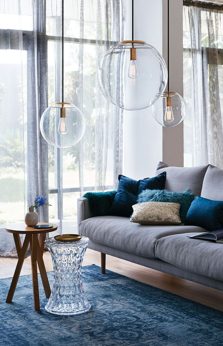 The Beacon Lighting Marcel 400mm 1 light pendant in brass with clear glass.