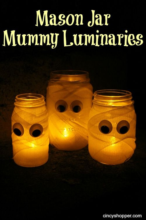 Dollar Store DIY Mason Jar Mummy Luminaries