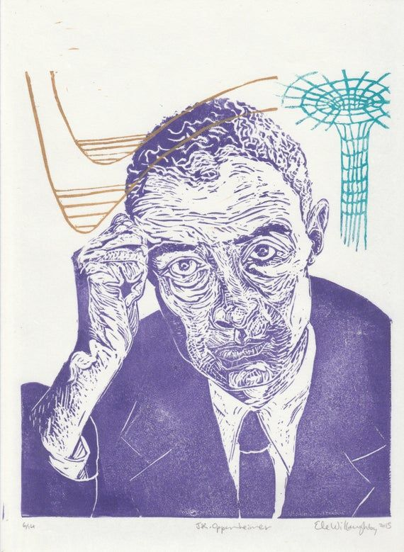 Linocut Portrait Of Physicist J  Robert Oppenheimer