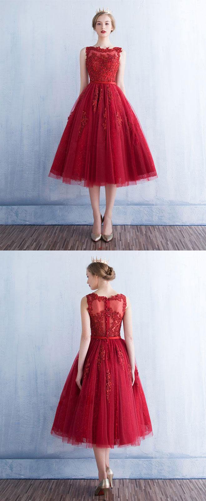bbc1d6a3c7e Burgundy round neck tulle lace short prom dress