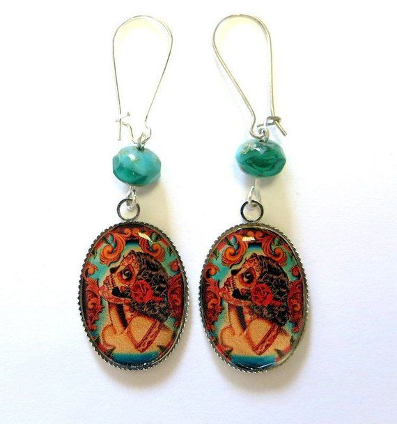 Vintage Old School Tattoo Earrings, 30s
