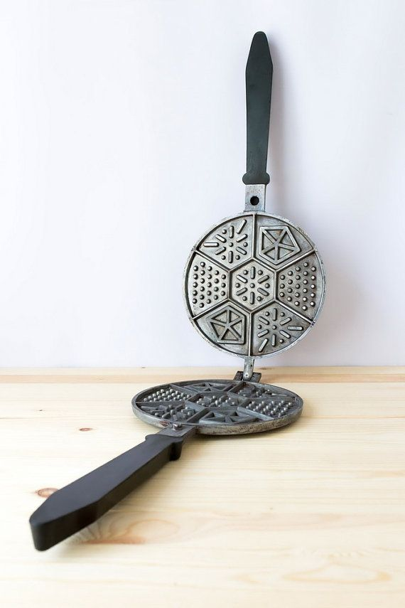 Vintage waffle iron Cookie pan Cookie cutter Cake mold Waffer maker Soviet bakeware USSR kitchenware Retro rustic kitchen Baking supply by TimeTestedFinds