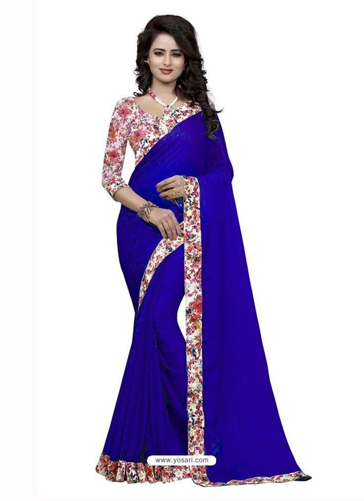 Groovy Royal Blue Jacquard Lace Work Saree