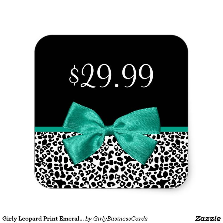 Girly leopard print emerald green ribbon price tag square stickers