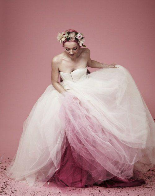 12 Amazing Summer Wedding Dresses with a Pop of Color: Dreamy strapless long summer wedding dress with bright purple petticoat