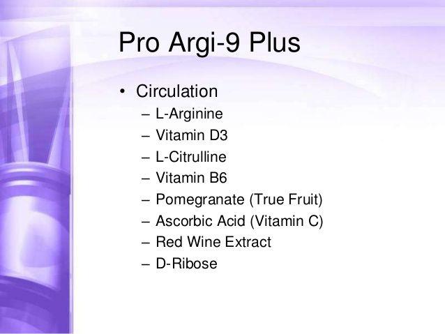 Pro Argi-9 Plus  • Cholesterol  –  –  –  –  –  –    L-Arginine  Pomegranate (True Fruit)  Tartaric Acid  Ascorbic Acid (Vitamin C)  Red...