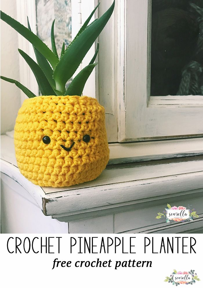 Crochet this easy pineapple succulent planter with a sweet face! Free crochet pattern