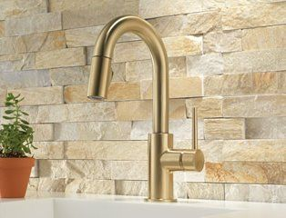 Dry-stacked stone backsplash idea.