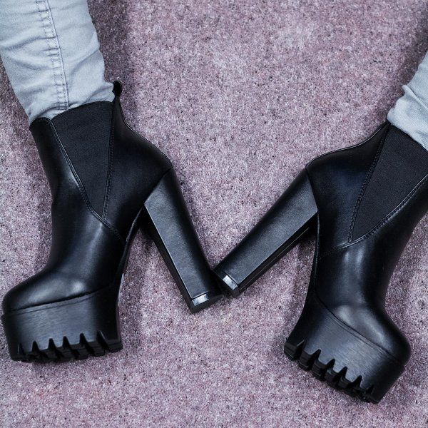 JOLT Cleated Sole Platform Chelsea Ankle Boots - Black Leather Style