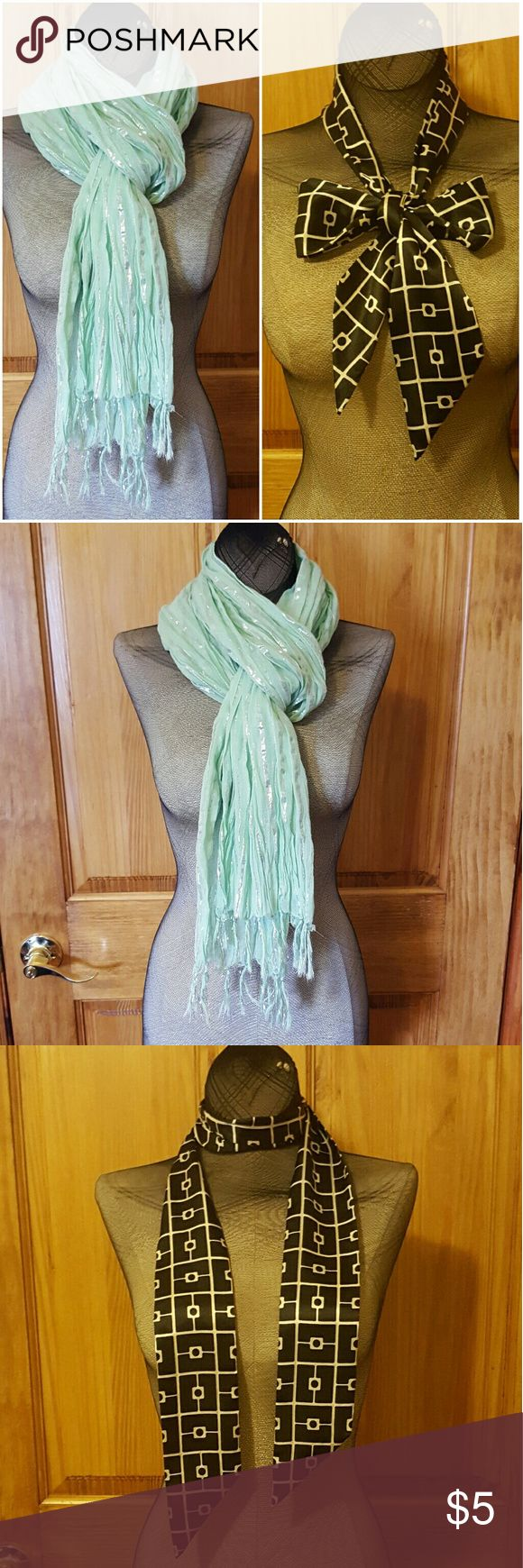 Bundle of 2 summer scarves Bundle of 2 summer scarves. Both brand new never worn. Mint scarf has tags, black scarf tags have been cut but never worn. Accessories Scarves & Wraps