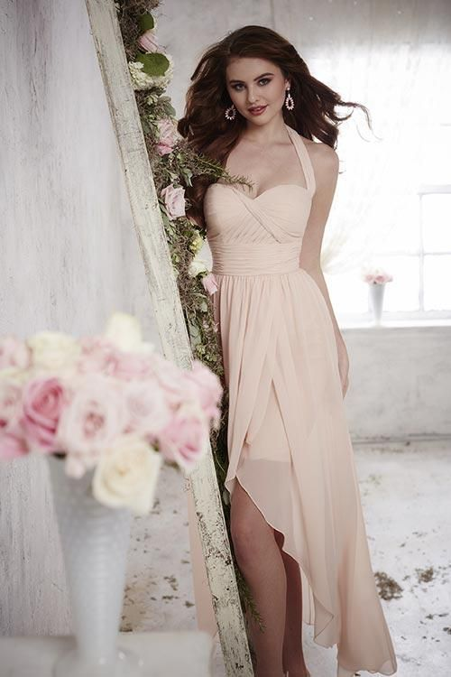 Balletts Bridal - 22899 - Bridesmaids by Jacquelin Bridals Canada - Stitched with all of your favorites, this high-low dress is mad of flowing chiffon with pleated middle and bodice, semi-sweetheart neckline, and halter strap. Pictured In: Blush Pink