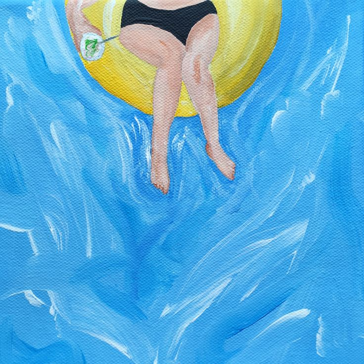 """""""Pool drinking"""" – Acrylique sur toile, 20x20 cm, 2017"""