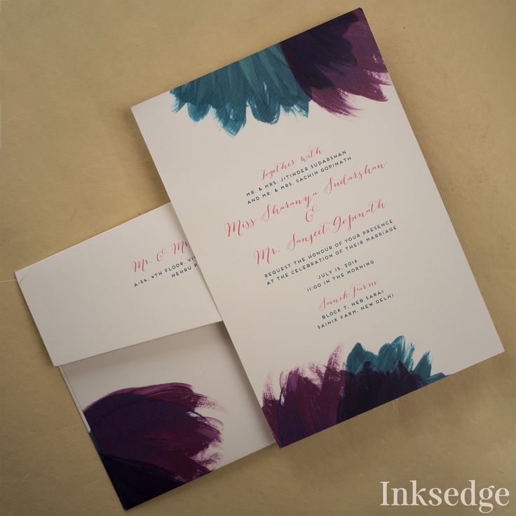 Feathery Blooms Plum: Wedding Invitation Cards Trendy Wedding invitation card designed to complement your Wedding occasion. #Weddingcard #invitationcard #designerweddingcard #weddingplanning #wedding #watercolor #yourareinvited #minimal