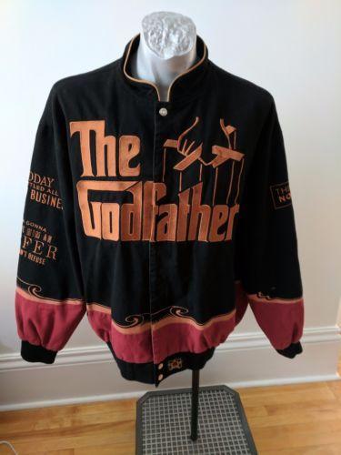 Godfather-Movie-Jacket-Sz-XL-Jeff-Hamilton-Snap-Emboidery-Patches-LS-JH-Design
