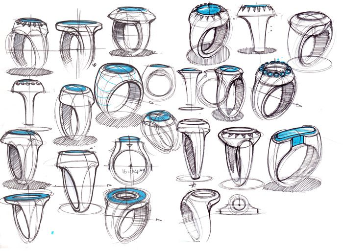 Sketches of rings by designer Spencer Nugent