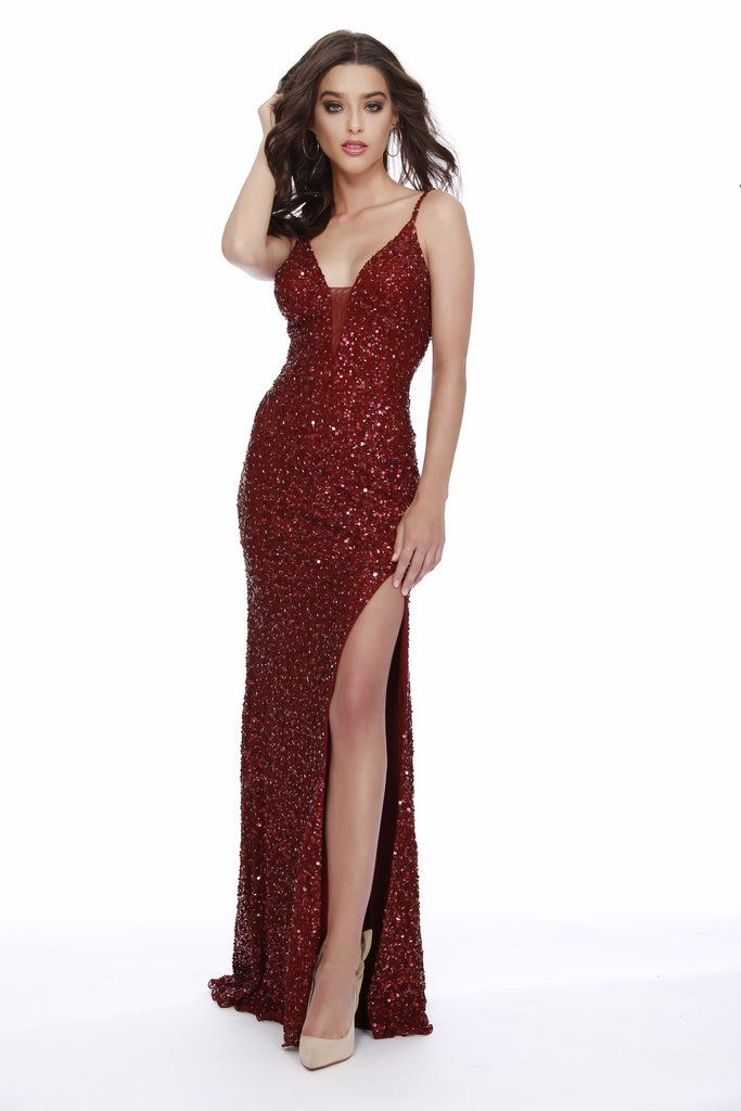806fa5f51c5 This Strapped V-Neck Sequin Body Hugging Burgundy Prom Dress With Slit 12223