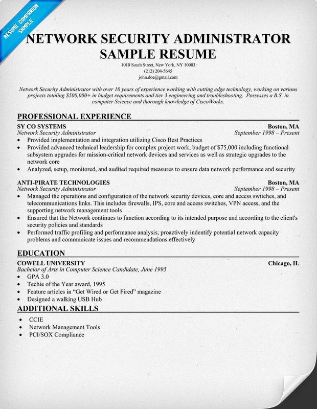 Network administrator resume sample pdf