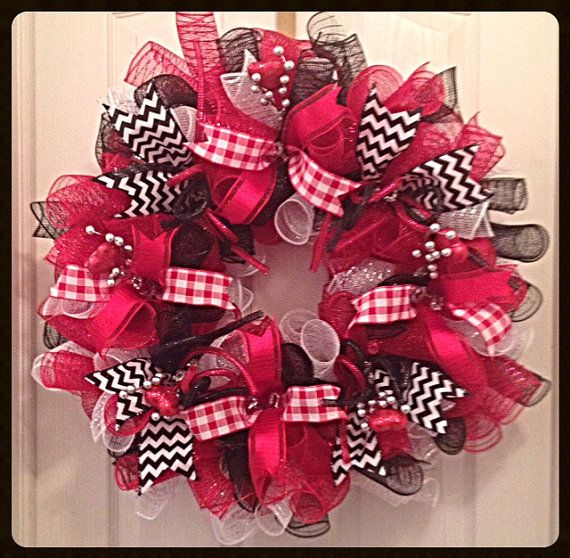 Valentine Deco Mesh Wreath/Red, Black and White Valentine Wreath/Valentine Black and Red Wreath