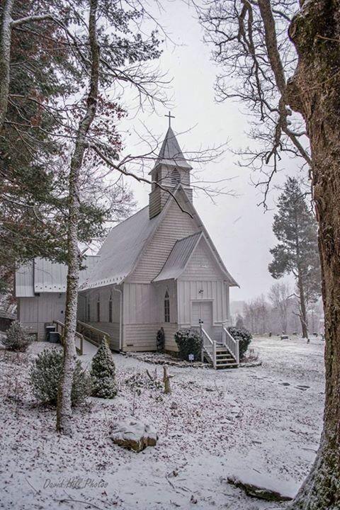 Snow covered NC church