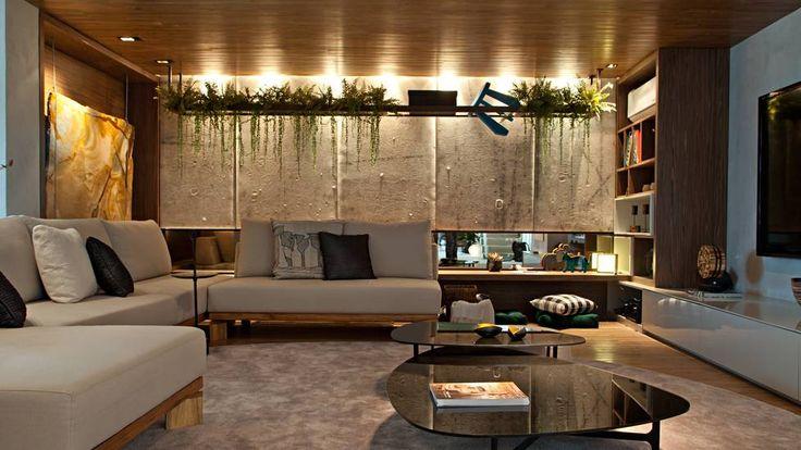 Casa Cor RJ 2013 - Apartamento do Casal Jovem - Estar da Família / Gabriela Eloy e Carolina Travaglini #lighting #sitting #wall
