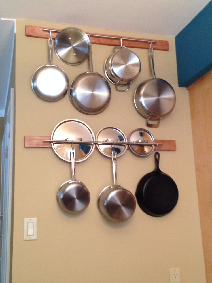 Pots and pans rack home ideas pinterest pan rack for Kitchen s hooks for pots and pans