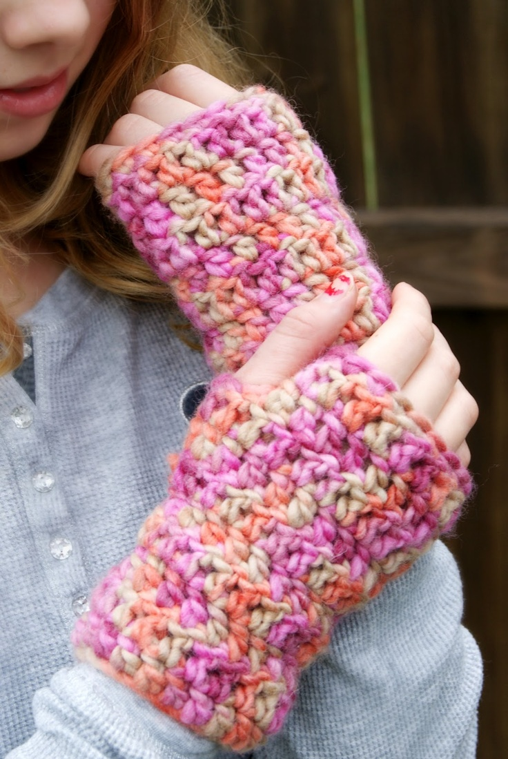 Free Crochet Pattern For Chunky Mittens : Bulky Yarn, Fingerless Gloves: FREE PATTERN HANDMADE ...