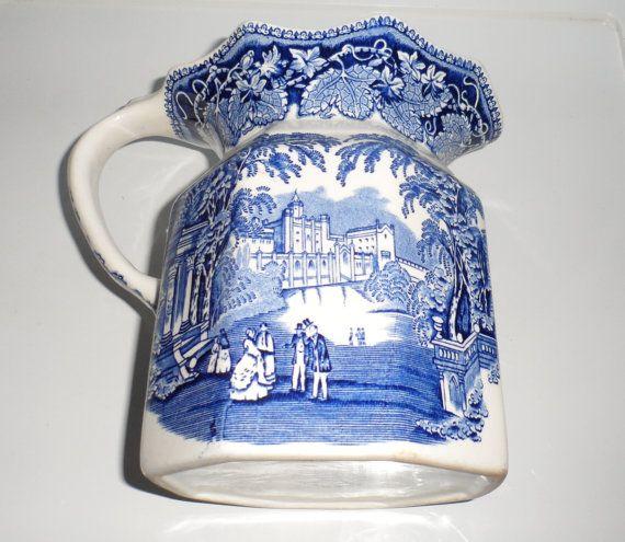 Masons of England Vista Blue and White Ironstone Milk by BYGONERA