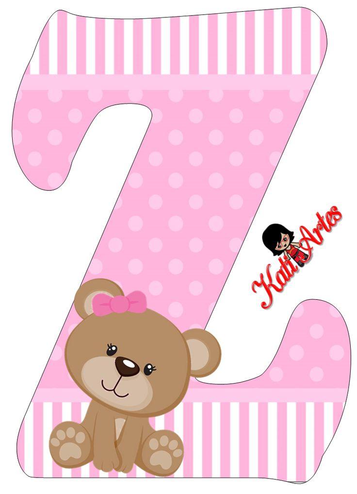 Alfabeto de tierna osita con fondo rosa.   Oh my Alfabetos!